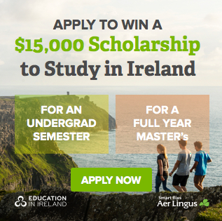 Apply tp win a $15,000 Scholarship to Study in Ireland